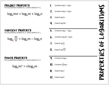 Properties of Logarithms (Algebra 2 Foldable)