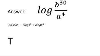 Properties of Logarithms (Condense) Scavenger Hunt