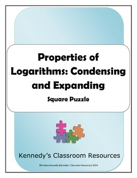 Properties of Logarithms: Condensing and Expanding - Square Puzzle