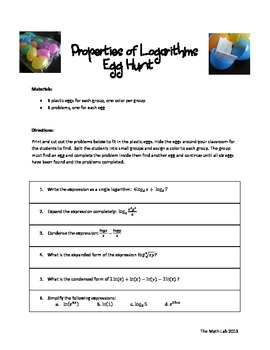 Logarithmic Properties Egg Hunt