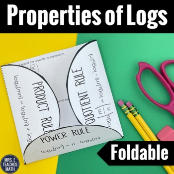 Properties of Logarithms Foldable