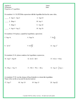 Properties of Logarithms: Guided Notes and Practice Worksheet (Editable)