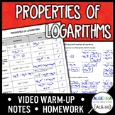 Properties of Logarithms Lesson Distance Learning