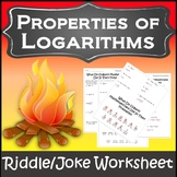 Properties of Logarithms {Logarithms Worksheet} {Logarithms Properties Activity}