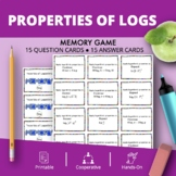 Properties of Logarithms Math Memory Game
