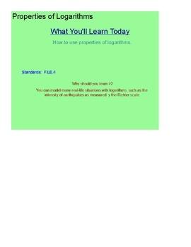 Properties of Logarithms SmartBoard Lesson
