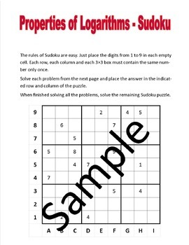 Properties of Logarithms - Sudoku puzzle