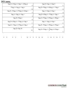 Properties of Logs - Fun Worksheet