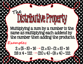 Properties of Math Posters in Black and White Polka Dot with Red Accents