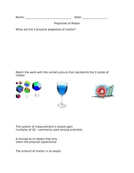 Properties of Matter Activity