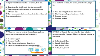 Properties of Matter & Adding and Removing Heat Task Cards TEKS; 4.5(AB)