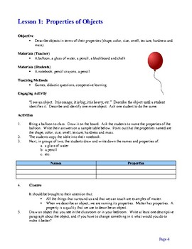 Properties of Matter - An Interdisciplinary Thematic Unit, Activities & Projects