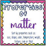 Properties of Matter BUNDLE- Worksheets, Sorts, and Tests