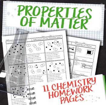 Properties of Matter Chemistry Homework Unit Bundle by