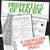 Properties of Matter Chemistry Homework Unit Bundle