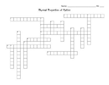 Properties of Matter Crossword Puzzle
