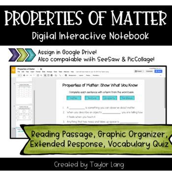 Properties of Matter Digital Notebook - Google Classroom, SeeSaw, OneDrive