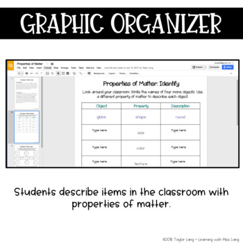 Properties of Matter Digital Notebook - Google Classroom, SeeSaw, OneDrive