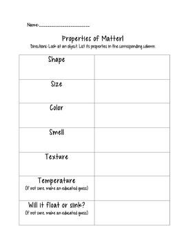 Properties of Matter Graphic Organizer