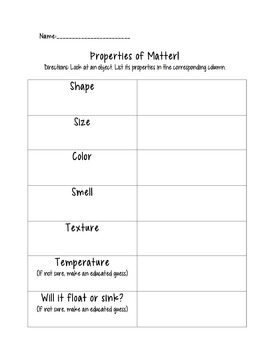 Properties of Matter Graphic Organizer