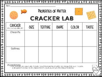 Properties of Matter Hands On Cracker Lab NEW Science Standards