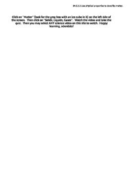 Properties of Matter Introduction Lesson- Online Vocab