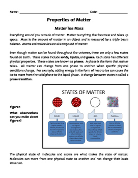 Properties of Matter Lesson, WS, & Word Search