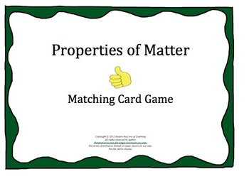 Properties of Matter (Mixtures and Solutions) Matching Card Game