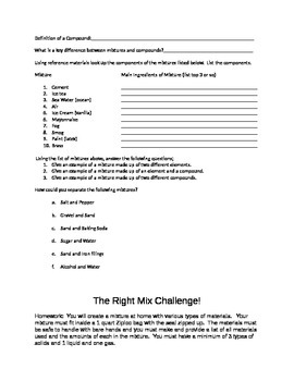 Properties of Matter:  Mixtures, a lab activity and worksheet on mixtures