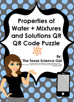 Properties of Matter + Mixtures and Solution QR Code Vocabulary Puzzle