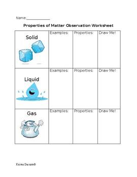 Properties of Matter Observation Worksheet