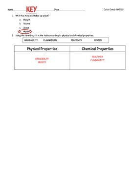 Properties of Matter - Quick Check, Formative Assessment
