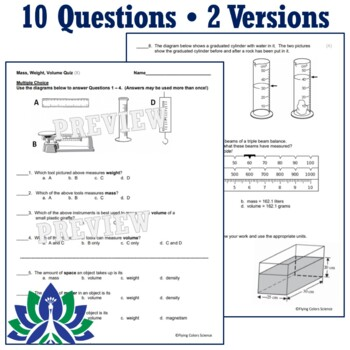 Properties of Matter Quiz: Mass, Weight, Volume (Includes Tools to Measure) NGSS