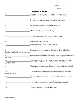 Properties of Matter Quiz or Worksheet for Physical Science
