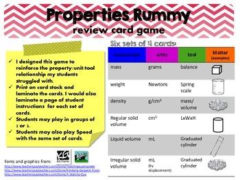 Properties of Matter Rummy Card Game