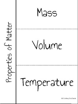 Properties of Matter Science INB Vocabulary