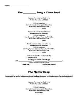 Properties of Matter Shared Reading Song