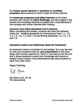 First Grade Science Properties of Matter Solids Liquids Gases Student Book