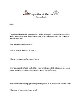 Properties of Matter Study Guide