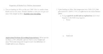 EDITABLE - Properties of Matter Summative Assessment (Written portion)