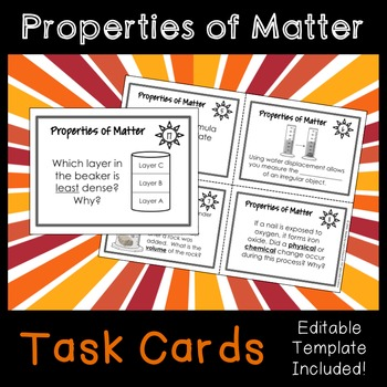 Properties of Matter (Volume, Density, Physical vs. Chemical Changes) Task Cards
