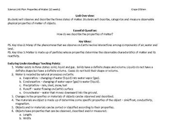 Properties of Matter Unit Plan