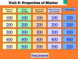 Properties of Matter Unit Review Materials - Jeopardy Game, Activities