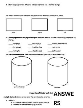 Properties of Matter Unit Test