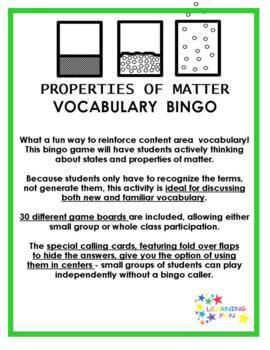 Properties of Matter Vocabulary Bingo