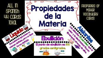 Properties of Matter Vocabulary Cards- Propiedades de Materia