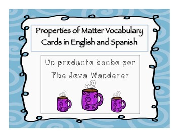 Properties of Matter Vocabulary Cards in English and Spanish