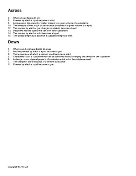 Properties of Matter Vocabulary Crossword for Physical Science