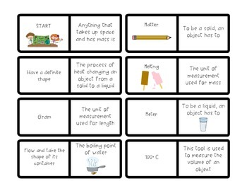 Properties of Matter Vocabulary Dominoes