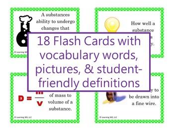 Properties of Matter Vocabulary Flash Cards
